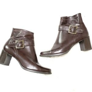 Franco Sarto | Brown Chunky Heel Ankle Booties